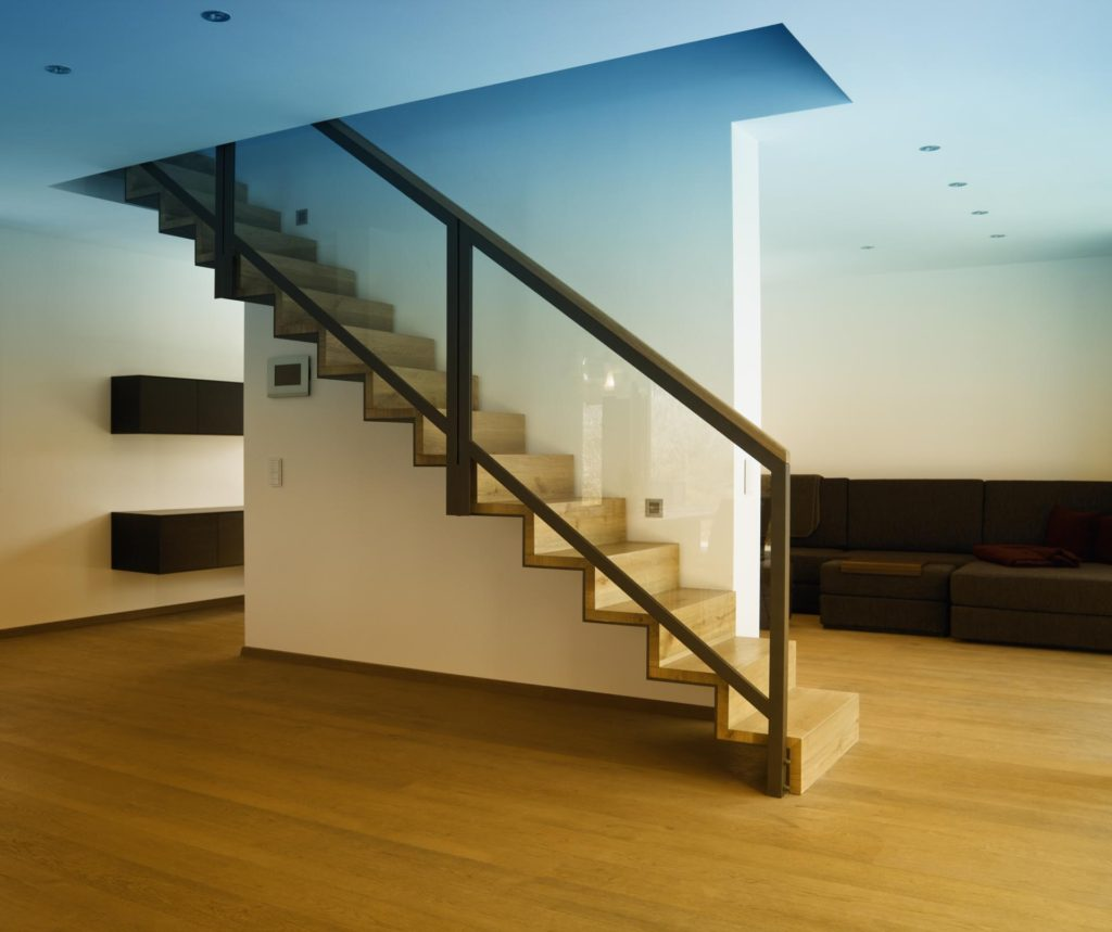 Luxglass Interior wood posts glass railing